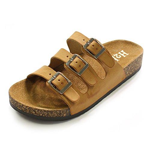 Slide Sandals for Women, H2K 'HELEN' Women's Comfy [Genuine Leather Footbed] Slide Sandals Slip-On Flat Slippers Flip Flops Shoes Multi Adjustable Buckle Straps, Tan and Beige Size 9 M [US - Multi Womens Buckle
