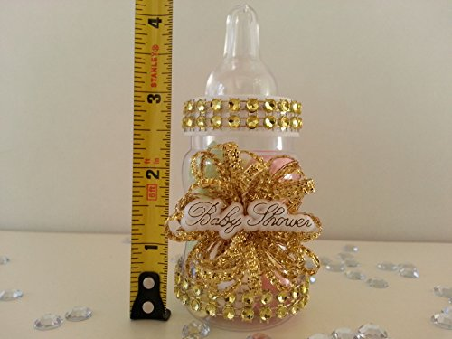 12 Gold Fillable Bottles for Baby Shower Favors Prizes or Games Girl Decorations by baby shower 789 (Image #3)