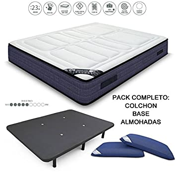 HABITMOBEL Pack Colchon Visco Gel 23 cm, 200 x 150 cm + Sommier + Almohada: Amazon.es: Hogar