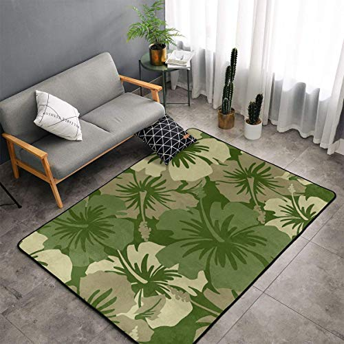 LIN. Hawaiian Floral Olive Green Area Rugs, Bedroom Livingroom Sitting-Room Rug, Doormat Floor Mat Standing Mat, Baby Children Play Blanket Tub Shower Bath Rug, Throw Rugs Carpet