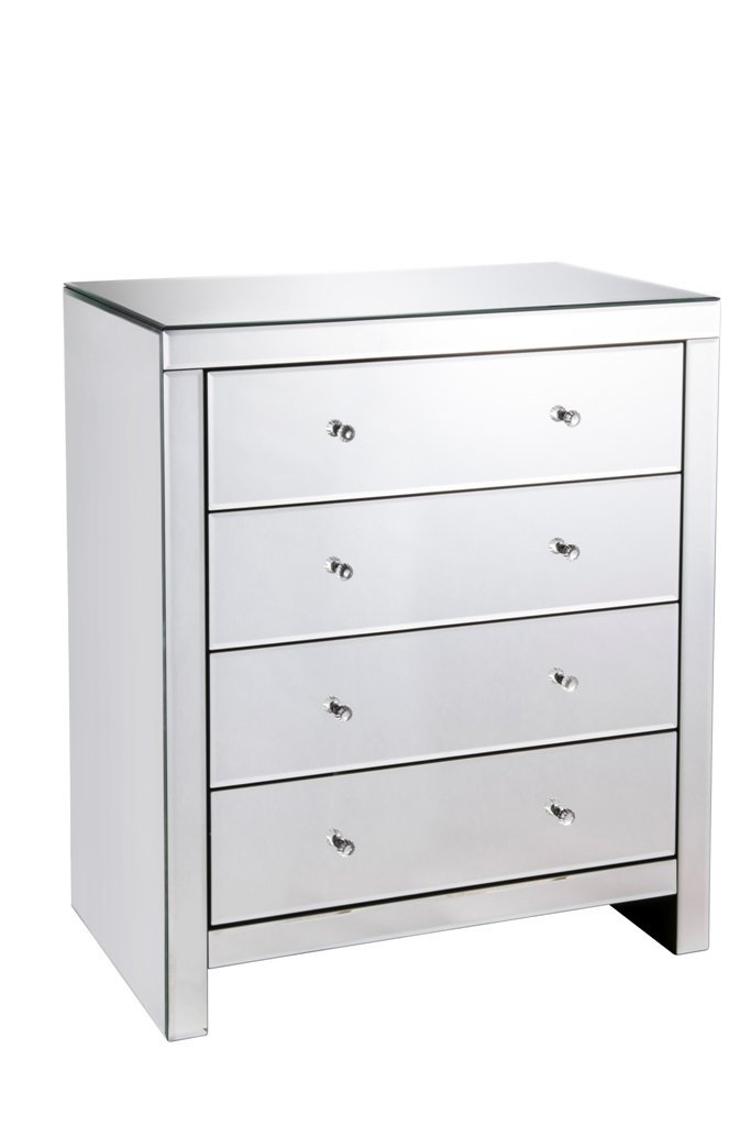 Unmatchable Mirrored Furniture Range Available in Clear or Black Glass Finish (Black Mirrored Finish, 3 Drawer Bedside Table) Home Detail