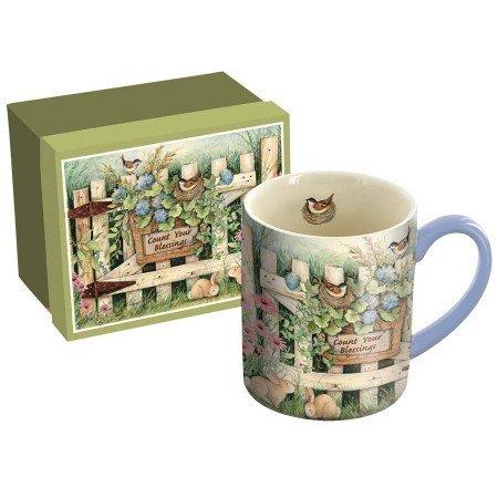 "LANG - 14 oz. Ceramic Coffee Mug - ""Garden Gate"", Art by Susan Winget - Birds Nest in Flowers"