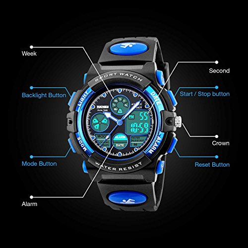 Kids Sports Digital Watch, Boys Girls Outdoor Waterproof Watches Children Analog Quartz Wrist Watch with Alarm - Blue by cofuo (Image #4)