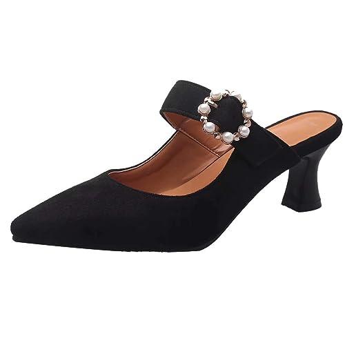 JYshoes Damen High Heels Sandalen Pantoletten mit Perlen