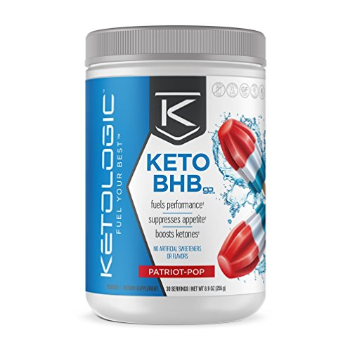 KetoLogic BHB – Keto Supplement – Suppresses Appetite / Increases Energy / Low Carb / Electrolytes / Beta-Hydroxybutyrate Salts  – Patriot Pop, 30 Servings,8.9 Ounce, Pack of 1