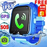 Kids Smart Watch Phone Accurate GPS Tracker Waterproof IP68 Girls Boys Fitness Tracker Sport Wrist Watch Game SIM Pedometer Camera Anti-lost SOS Birthday Gift learn Toy,Swim Run Device for iOS Android