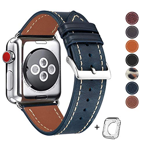 Compatible iWatch Band 42mm 44mm, Top Grain Leather Band Replacement Strap iWatch Series 4,Series 3,Series 2, 1,Sport Edition 2019 New Retro discoloured Leather(Retro Jewelry Blue Band+Silver Buckle)