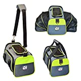 Peak Pooch - Expandable Foldable Airline Approved IATA Carry On Travel Pet Dog Cat Soft-Sided Carrier w Fleece Bed - Charcoal (Neon Green Trim - Small) - 16