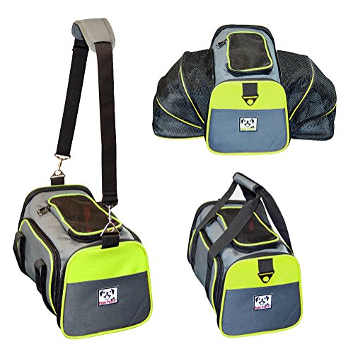 Peak Pooch - Expandable Foldable Airline Approved IATA Carry On Travel Pet Dog Cat Soft-Sided Carrier w/ Fleece Bed - Charcoal (Neon Green Trim, Large) - 19