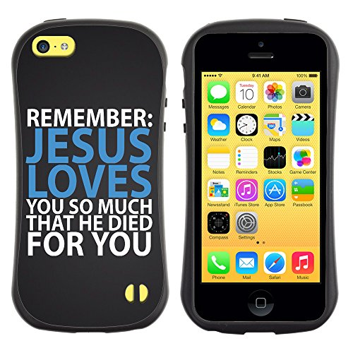 DREAMCASE Citation de Bible Silicone et Rigide Coque Protection Image Etui solide Housse T¨¦l¨¦phone Case Pour APPLE IPHONE 5C - JESUS LOVES YOU SO MUCH THAT HE DIED FOR YOU