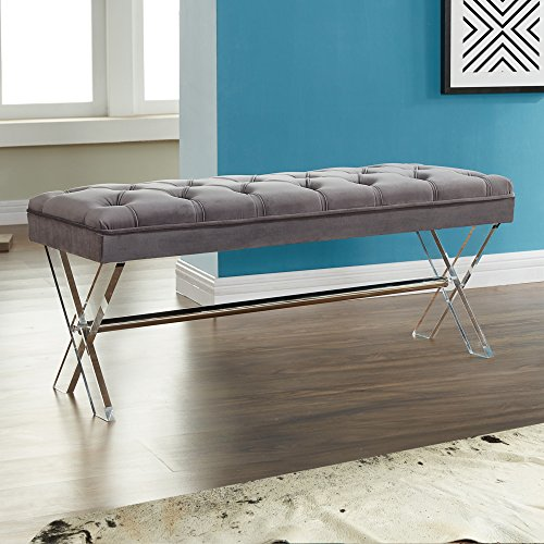 Armen Living Joanna Bench in Grey Velvet and Acrylic Finish