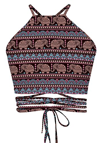 Women's Bohemian Vintage Printed Halter Neck Backless Bustier - Spandex Bustier Crop Top