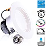 """11Watt 4""""- Inch ENERGY STAR UL-Listed Dimmable LED Downlight Retrofit Baffle Recessed Lighting Kit Fixture, 2700K Warm White LED Ceiling Light, Wet Location -- 600LM, CRI 90"""