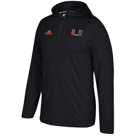 quality design c49f0 47369 adidas Miami Hurricanes NCAA Men's Black Sideline 1/4 Zip Training Hoodie