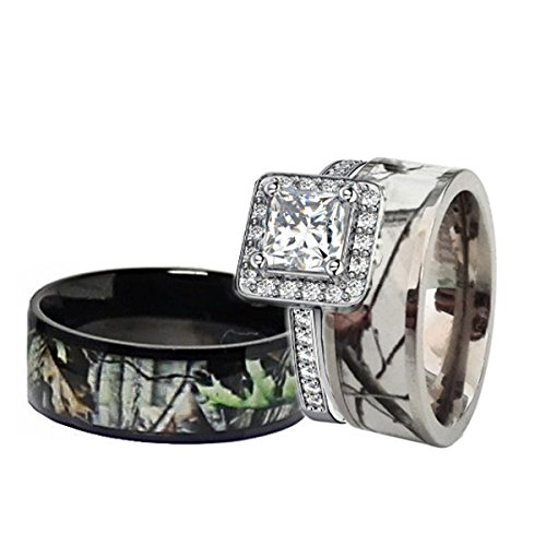 his hers black white titanium camo sterling silver