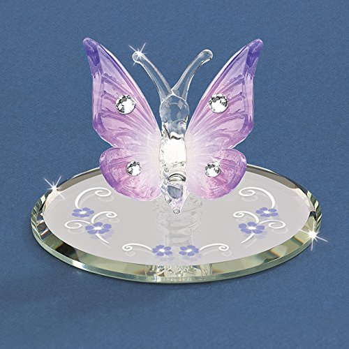 (Glass Baron Lavender Butterfly w/Crystals Figurine)