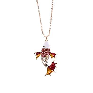 Mod Mujeres Encanto Crystal Goldfish Lindo Colgante Suéter ...