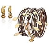Leather Brown Wrap Bracelet ,Swarovski Crystals ,24 Karat Gold Pendants & A Gold Plated Earring Set Handmade by SEA-Smadar