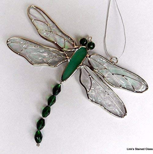 Stained Glass Beaded Tail Dragonfly Sun Catcher, - Windows Window Dragonfly