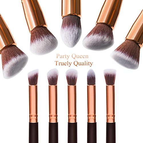 Party Queen Makeup Brush Set Classic 10Pcs Rose Golden Kabuki Brush With Luxury Pouch - Buy ...