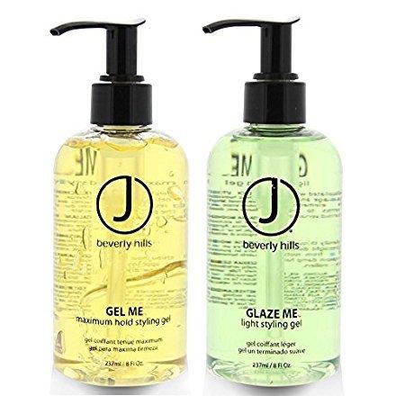 J Beverly Hills Glaze Me Light Styling Gel 8 oz + Gel Me Maximum Hold Styling Gel 8oz