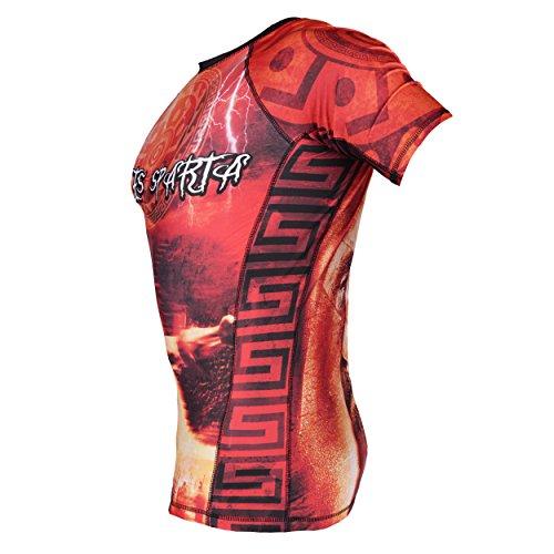 QUESTO IS SPARTA MANICA CORTA Rash Guard top. DUREVOLI & competizione. compressione top. STREET FIGHTER. MMA FIGHTWEAR