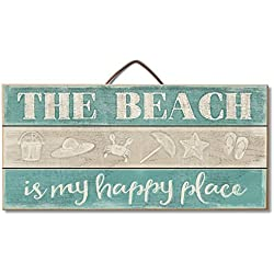 "Highland Woodcrafters The Beach Is My Happy Place 12""x 6"" Slatted Pallet Wood Sign"
