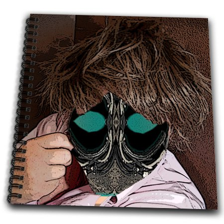 db_50541_1 Jos Fauxtographee Abstract - A Person in a Short Brown, Messy Wig Wearing a Pink Shirt with an Object to Make up Face Like a Mask - Drawing Book - Drawing Book 8 x 8 inch