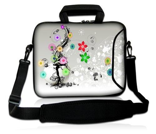 Luxburg® Design Funda bandolera Blanda Bolso Sleeve para Ordenador Portátil / MacBook de 17,3 pulgadas, motivo: Peces de colores Flores de colores