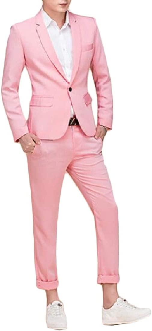 AngelSpace Men Plus Size Notch Lapel Candy Color Silm Fit Jackets Suit