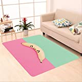 Sophiehome skid Slip rubber back antibacterial  Area Rug Anime Happy Baby Banana. Pastel colors. Minimal style_538152580 Home Decorative
