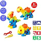 Toy for for Boys Girls Gift Age 3,4,5,6,7,8,9 BOYI Construction Engineering STEM Learning Toy Building Play Set BAIVYLE Fun Take Apart Dinosaur Toys Pack of 3