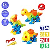 BAIVYLE Fun Take Apart Dinosaur Toys (Pack of 3), Construction Engineering STEM Learning Toy Building Play Set - Toy for for Boys Girls Gift Age 3,4,5,6,7,8,9