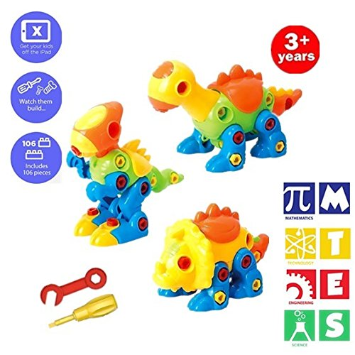 (BAIVYLE Fun Take Apart Dinosaur Toys (Pack of 3), Construction Engineering STEM Learning Toy Building Play Set - Toy for for Boys Girls Gift Age)