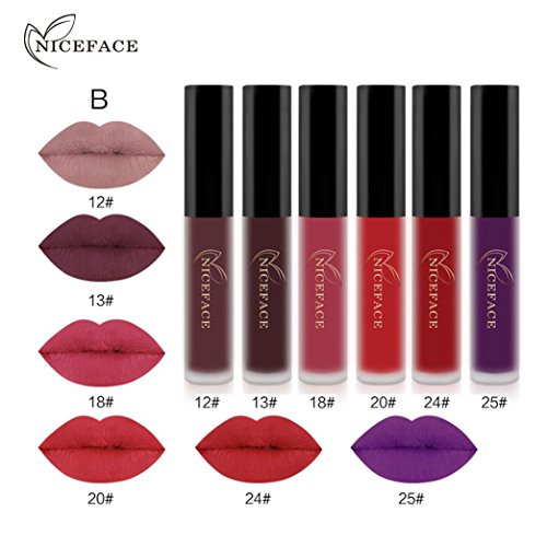 Hot Sales! DEESEE(TM) 6PCS New Fashion Waterproof Matte Liquid Lipstick Cosmetic Sexy Lip Gloss Kit (B)
