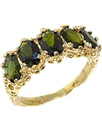 10k .417 Yellow Gold Real Genuine Green Tourmaline Womens Band Ring