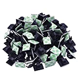 100 Pieces Self-Adhesive Car Cable Clips Mounted Wire Clips Wall Desk Table Cord Wire Management Wire Rope Holder Organizer Drop Clamp Cable Quick Tie Holder for Car Office and Home, Black
