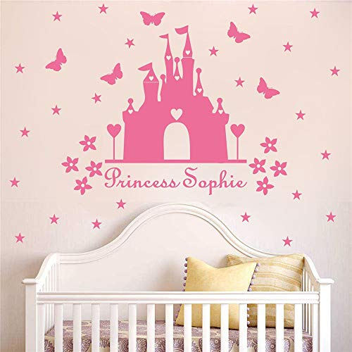 Vinyl Decal Quote Art Wall Sticker Mirror Decal Princess Castle Wall Sticker with Personalised Name Kids Room Decor Nursery Room Decor