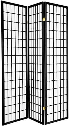 3, 4, 6, 5, 8 Panels Room Divider Screen Partition Shoji Style 6 feet Tall (Black, 3 Panel)