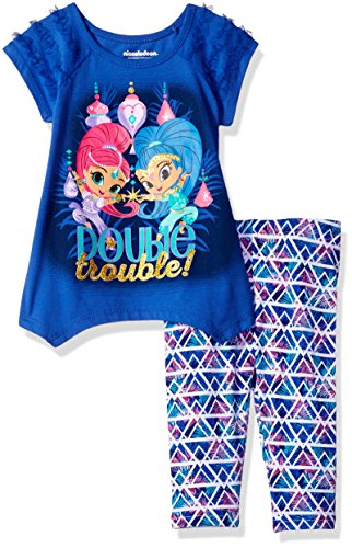 Nickelodeon Toddler Girls' 2 Piece Shimmer and Shine Tee and Legging Set, Purple, (Character Outfit)