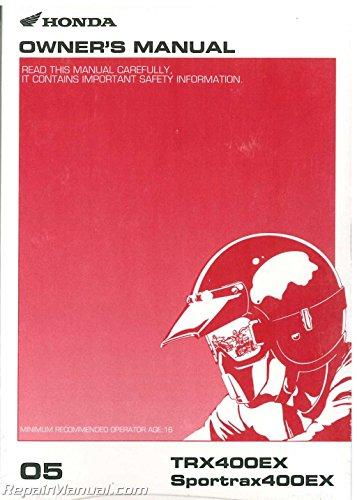 - 31HN1660 2005 Honda TRX400EX SportTrax 400EX ATV Owners Manual