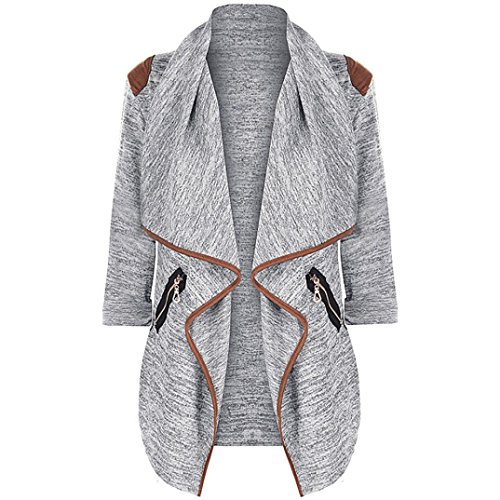 BEAUTYVAN Cardigan Jacket Plus Size Womens Knitted Casual Beautiful Long Sleeve Cardigan Jacket Outwear Plus Size (L2, Gray) ()