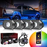DJI 4X4 RGB LED Rock Light Kits with Bluetooth Control Waterproof Multicolor Neon LED Lights Underglow Trail Rig Lights for Truck SUV ATV Boat Motorcycle Off Road Jeep - 4 Pods