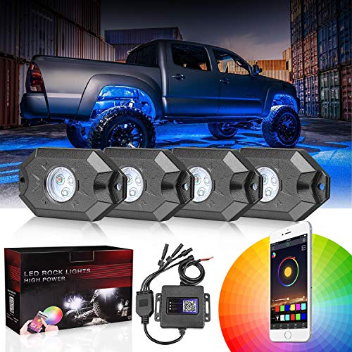 DJI 4X4 RGB LED Rock Light Kits with Bluetooth Control Waterproof Multicolor Neon LED Lights Underglow Trail Rig Lights for Truck SUV ATV Boat Motorcycle Off Road Jeep - 4 Pods - Neon Lights Truck