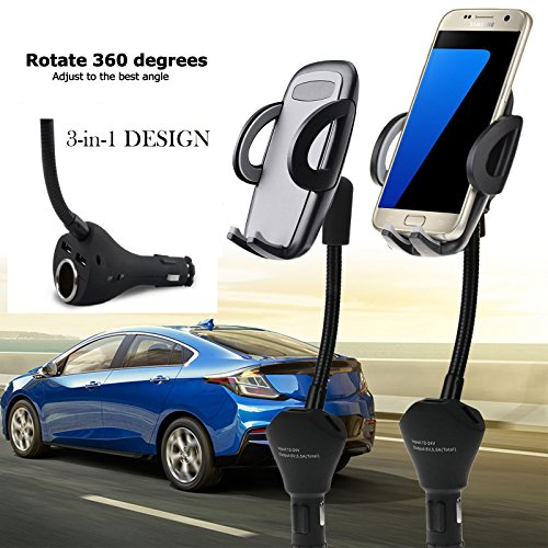BESTeck 3-in-1 Universal Car Mount Holder Phone Charger Cigarette Lighter Power Adapter for iPhone, Samsung Galaxy and More Smartphones (1 Power Outlet, Dual USB, 4.8A Max)