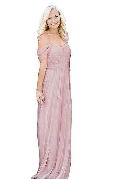 eb97db799a Fanciest Women s Off The Shoulder Tulle Long Bridesmaid Dresses 2018  Wedding Party Dress Blush US2