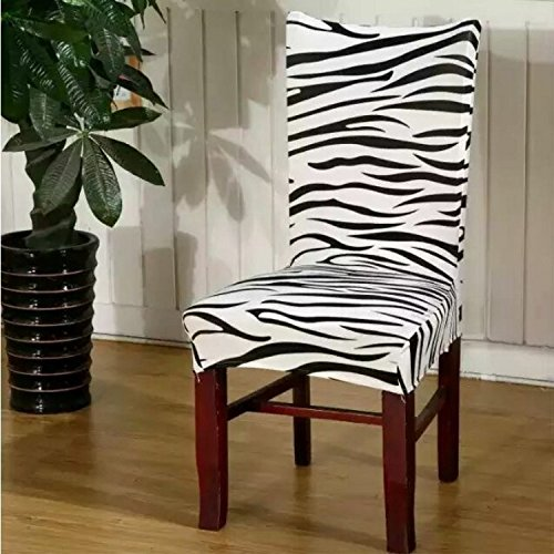 Beyonder Universal Stretch Spandex Removable Washable Short Floral Dining Chair Cover Protector Seat Solid Slipcovers for Hotel,Dining Room,Ceremony,Wedding etc (zebra) - Parsons Chair Round Chair