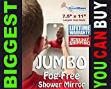 BIGGEST Fog-Free Shaving Shower Mirror Anti-Fog Fogless shave mirror by The Great Shave Company