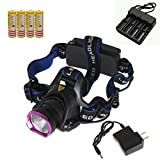 KssFire® 2000 Lumens CREE XM-L T6 U2 LED 3 Modes Headlamp Head Light Torch Flashlight For Camping, Running, Hunting, Reading (+4 batteries with 4-slot charger)