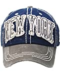 RI001 NEW YORK DISTRESSED AND FADED HAT AND CAP
